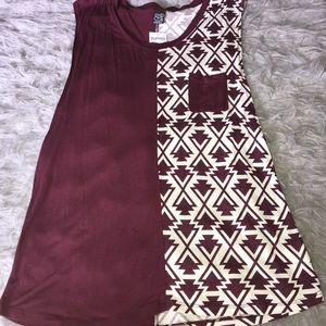 Burgundy and white T-shirt